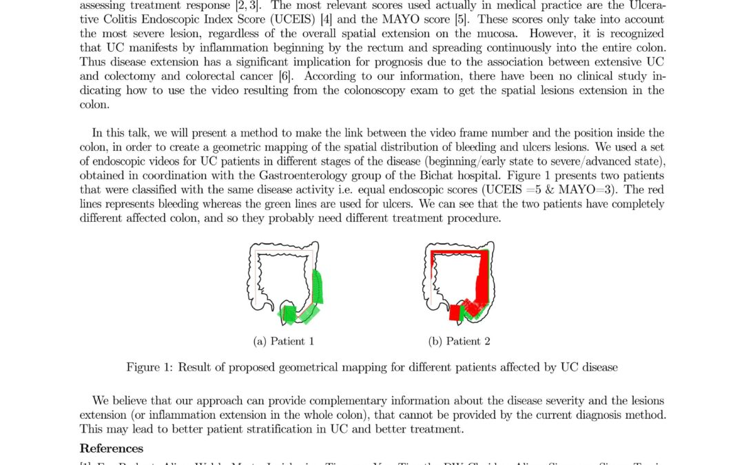 Visioconférence – Geometrical mapping of bleeding and ulcer lesions for Ulcerative Colitis disease
